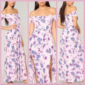 Summer floral maxi front slits dress off shoulder